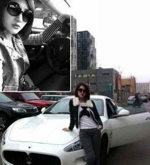 郭美美声称这辆白色玛莎拉蒂跑车(小白)是自己20岁的生日礼高清图片